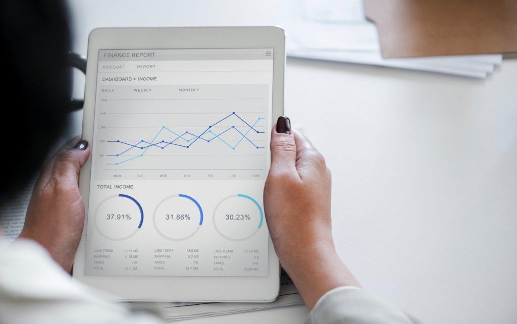 business cash flow on tablet